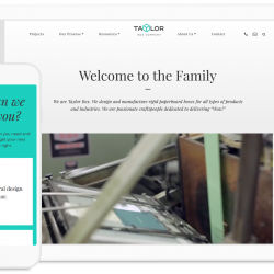 Taylor Box homepage on mobile and tablet